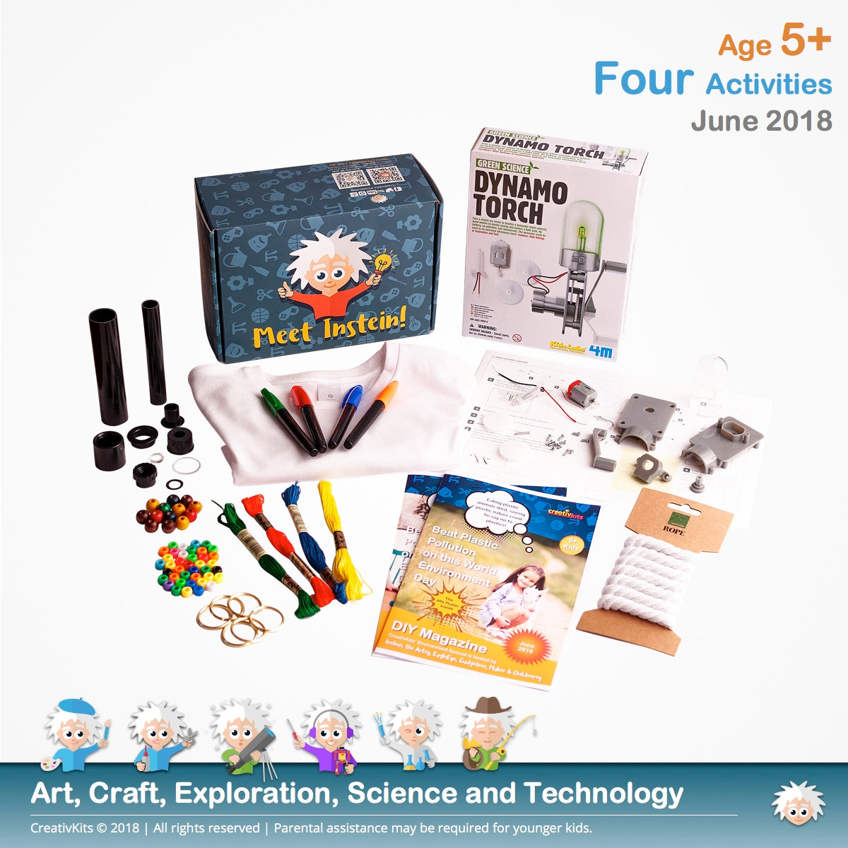 Dynamo Torch, T-Shirt Transfer, Assemble Telescope & Rope Tassel Keychains | June Plus Kit | Age 5+