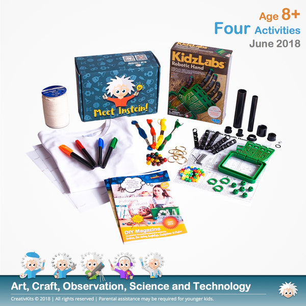 Build your own Robotic Hand, Design Your Own T-Shirt Transfer, Assemble your own Telescope and DIY Macramé Keychain | June Plus Kit | Age 8+