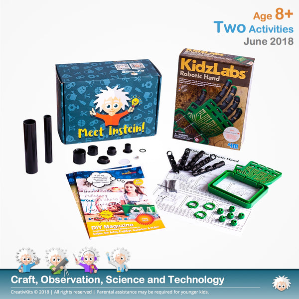 Build your own Robotic Hand and Assemble your own Telescope | June Standard Science and Technology Kit | Age 8+