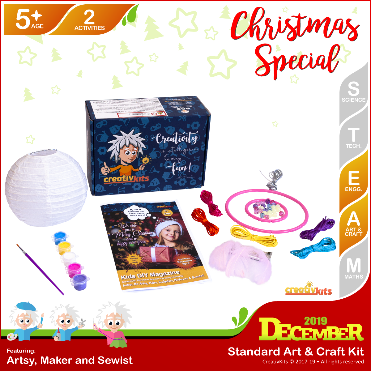 December Standard Art & Craft Kit • Age 5 plus • Glow In Dark Dreamcatcher and Painted Xmas Lantern