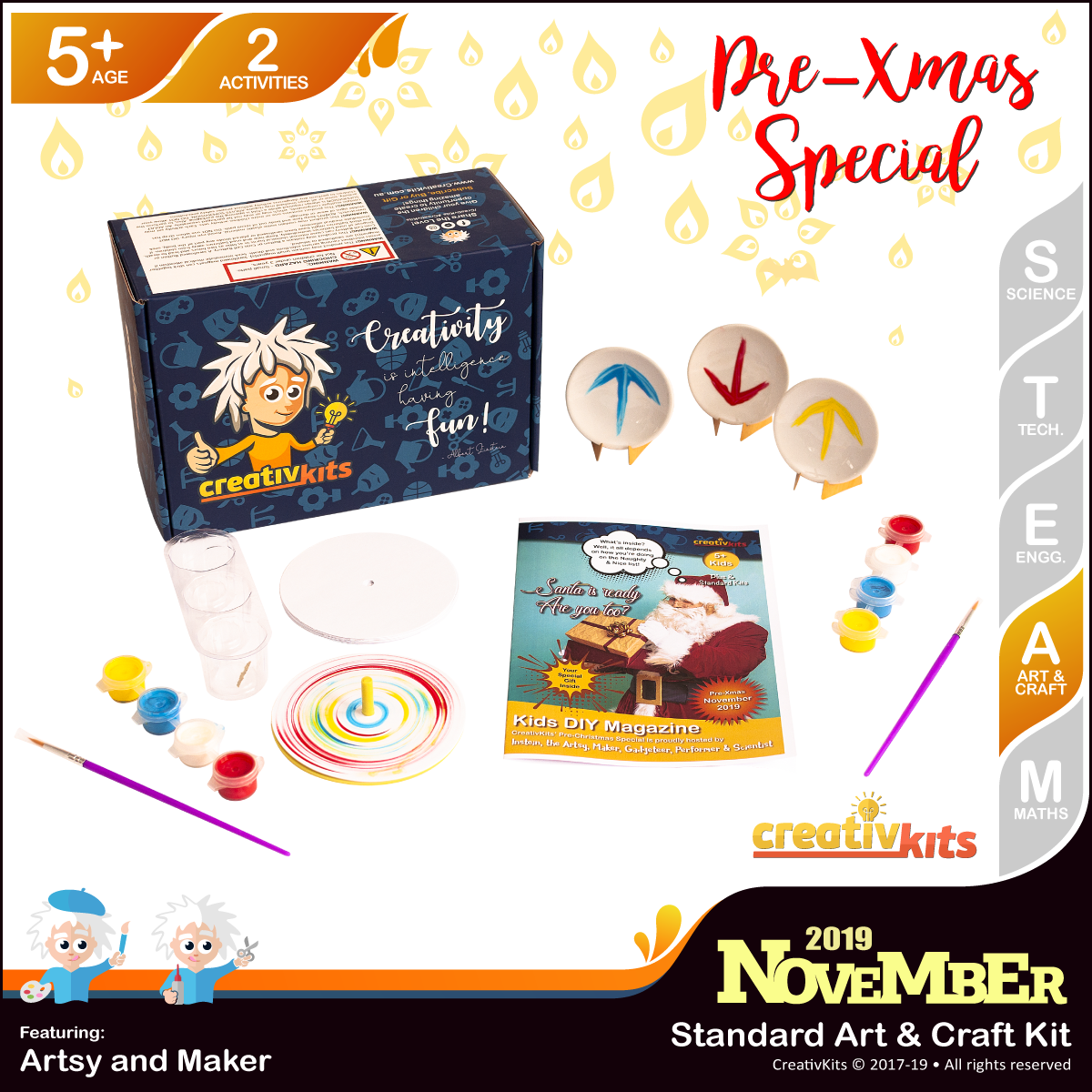 November Standard Art & Craft Kit • Age 5 plus • MYO Spin Art and Mini Plates paintings