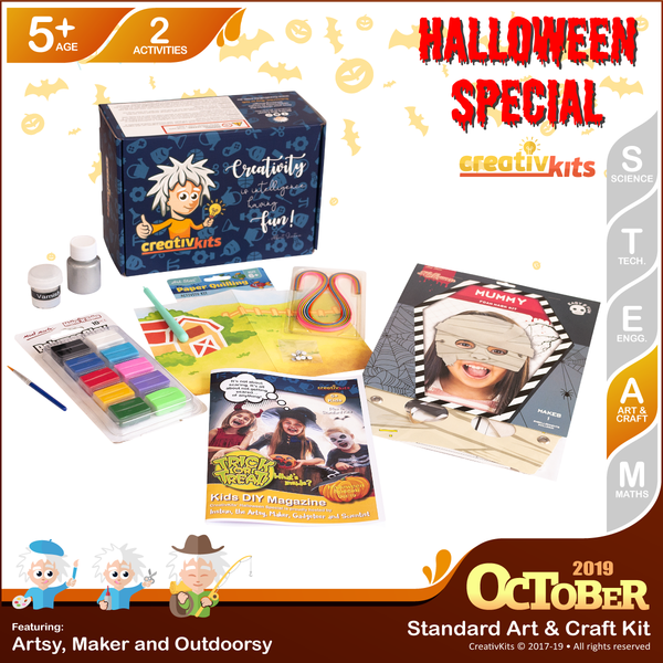 October Standard Art & Craft Kit • Age 5 plus • MYO Drink Coaster & Quilling Art