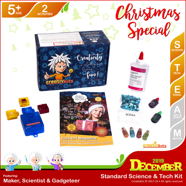 December Standard Science & Tech. Kit • Age 5 plus • DIY Santa Alarm and Christmas Glitter Slime