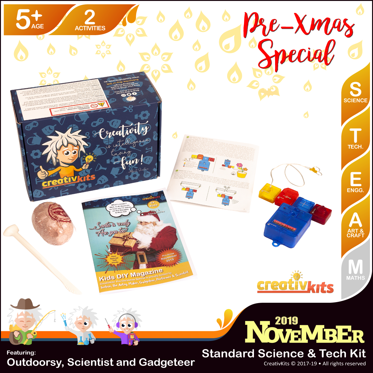 November Standard Science & Tech. Kit • Age 5 plus • LogiBlocs Smart Circuit and Dig Glow Dinosaur
