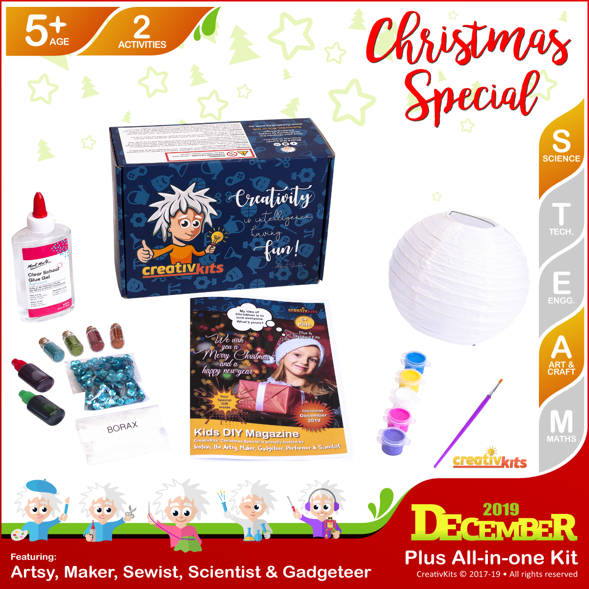 December Standard Combo Kit • Age 5 plus • Christmas Glitter Slime and Painted Xmas Lantern