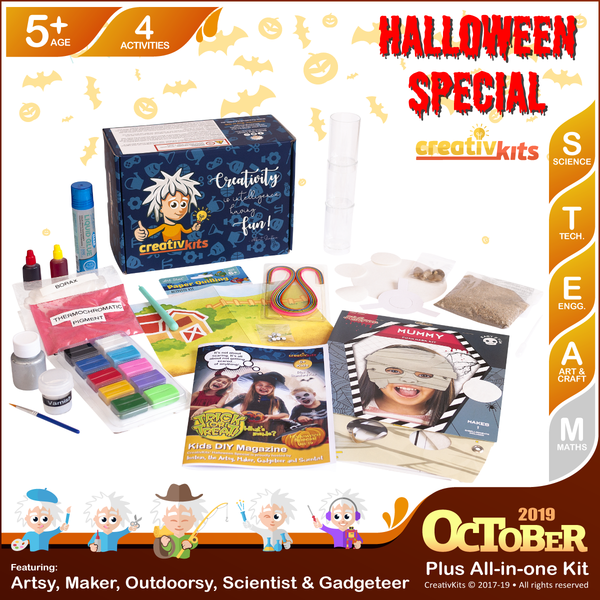 October Plus Kit • Age 5 plus • MYO Drink Coaster, Magical Slime, Quilling Art & Water Filter