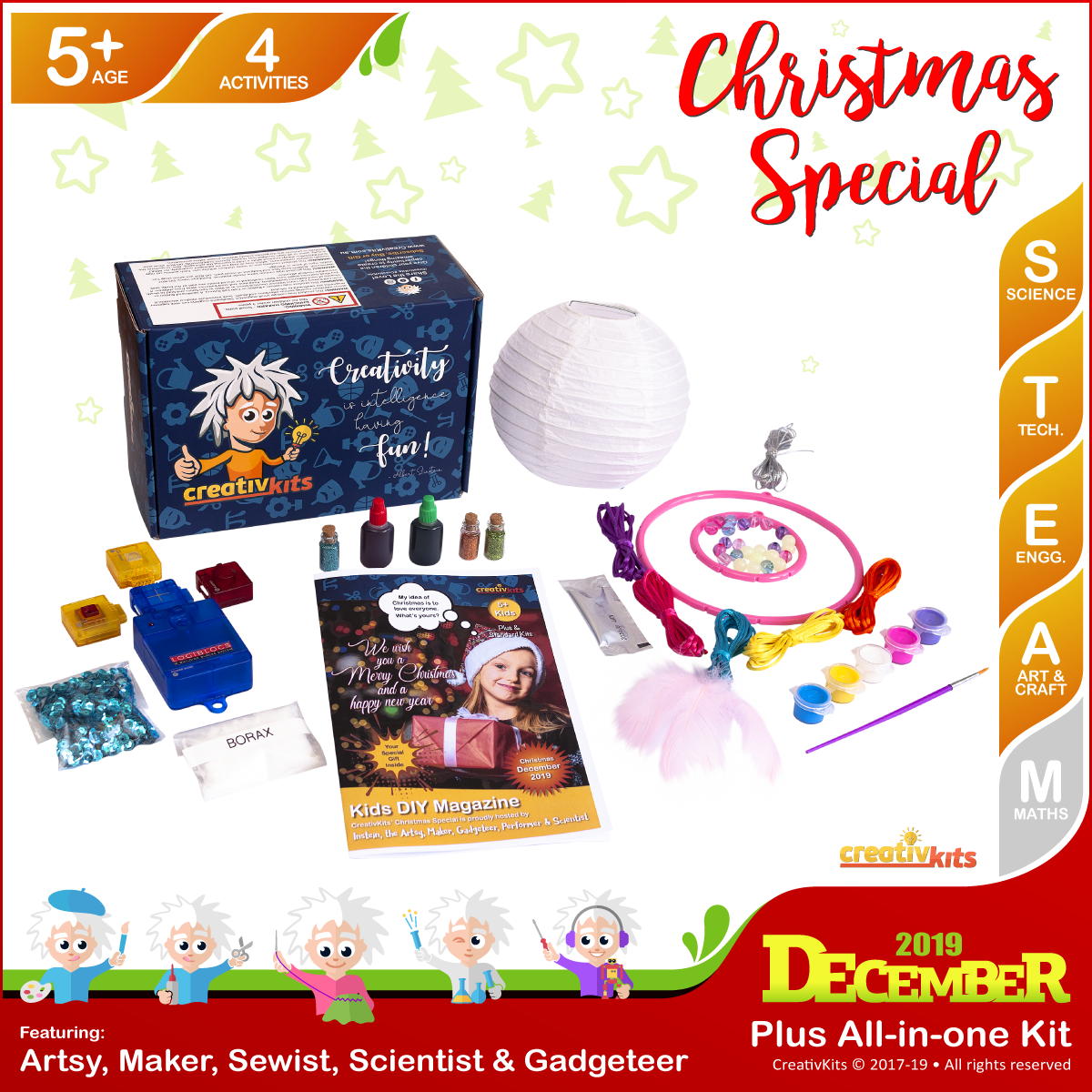 December Plus Kit • Age 5 plus • DIY Santa Alarm, Christmas Glitter Slime, GID Dreamcatcher and Painted Xmas Lantern