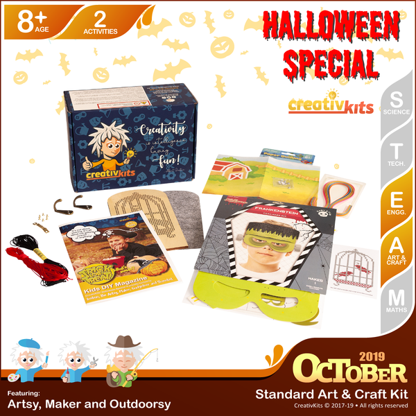 October Standard Art & Craft Kit • Age 8 plus • MYO Quilling Art and Halloween Key Holder