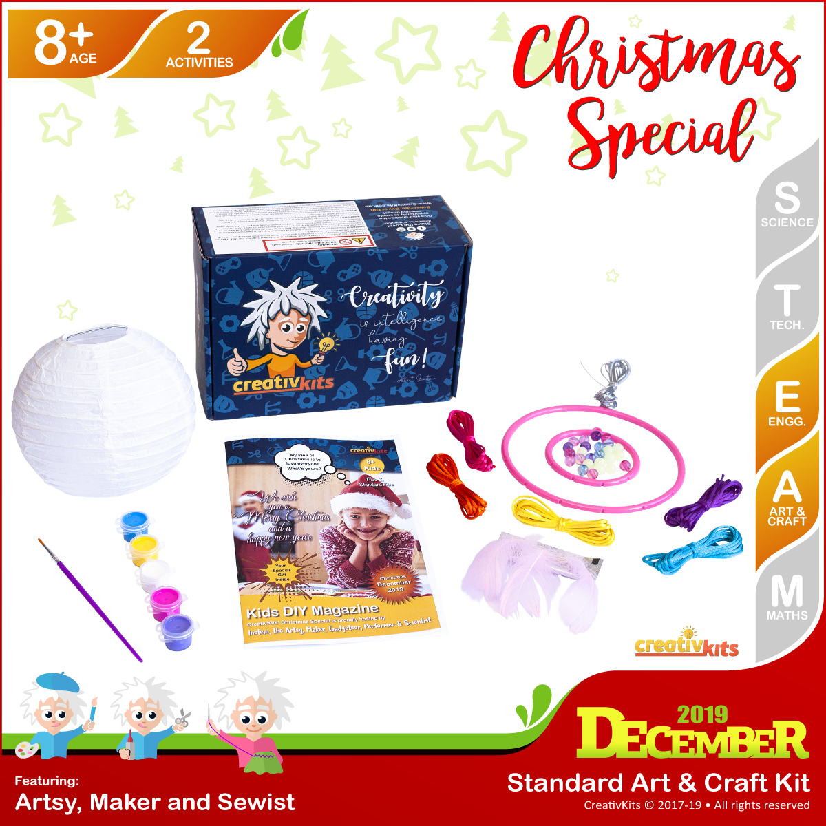 December Standard Art & Craft Kit • Age 8 plus • Glow In Dark Dreamcatcher and Painted Xmas Lantern