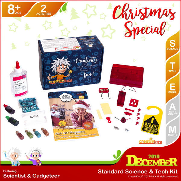 December Standard Science & Tech. Kit • Age 8 plus • DIY Intruder Alarm and Christmas Glitter Slime
