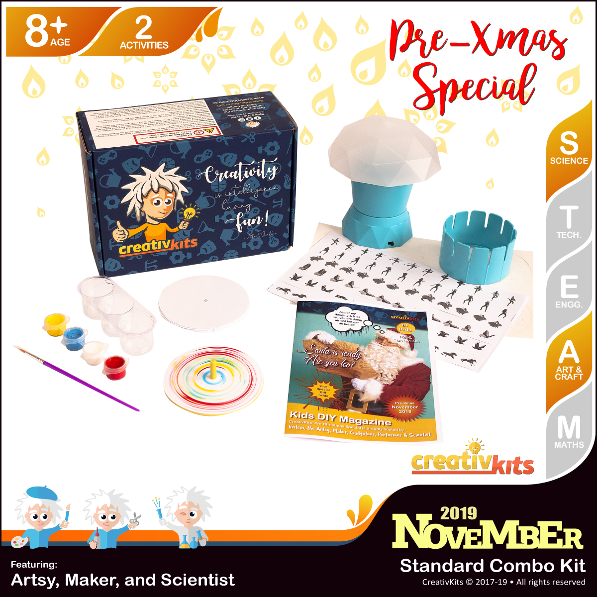 November Standard Combo Kit • Age 8 plus • Optical Mood Lamp and MYO Spin Art