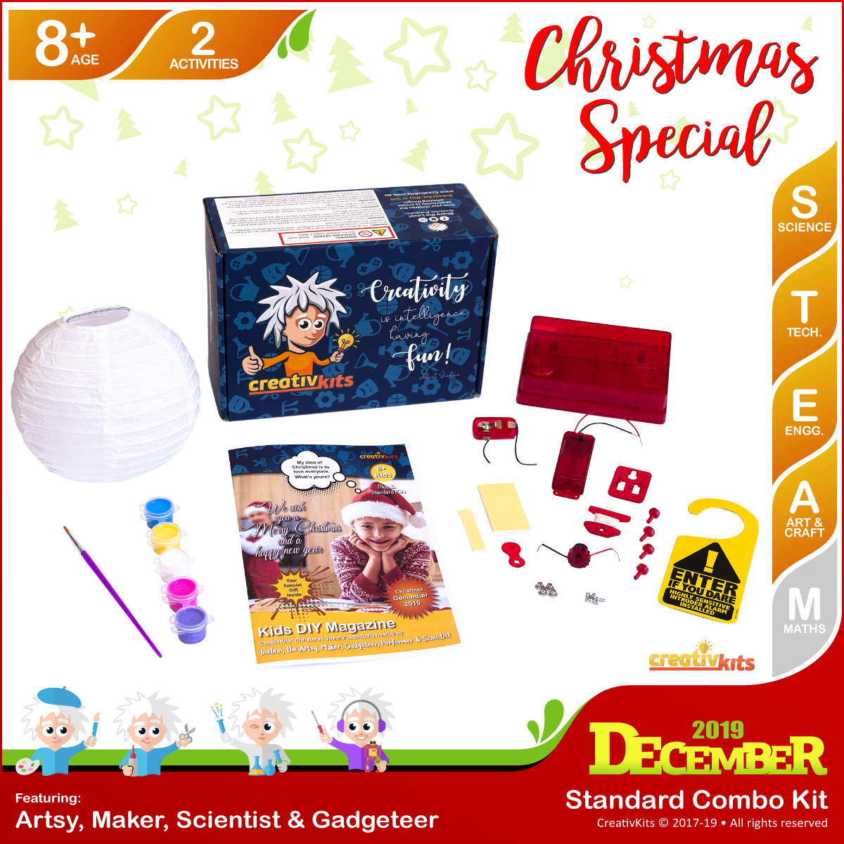 December Standard Combo Kit • Age 8 plus • DIY Intruder Alarm and Painted Xmas Lantern