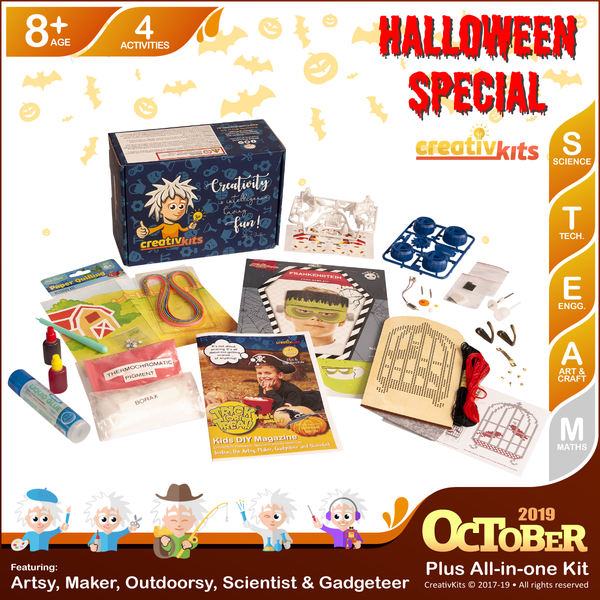 October Plus Kit • Age 8 plus • BYO Baja Runner, MYO Magical Slime, Quilling Art and Key Holder