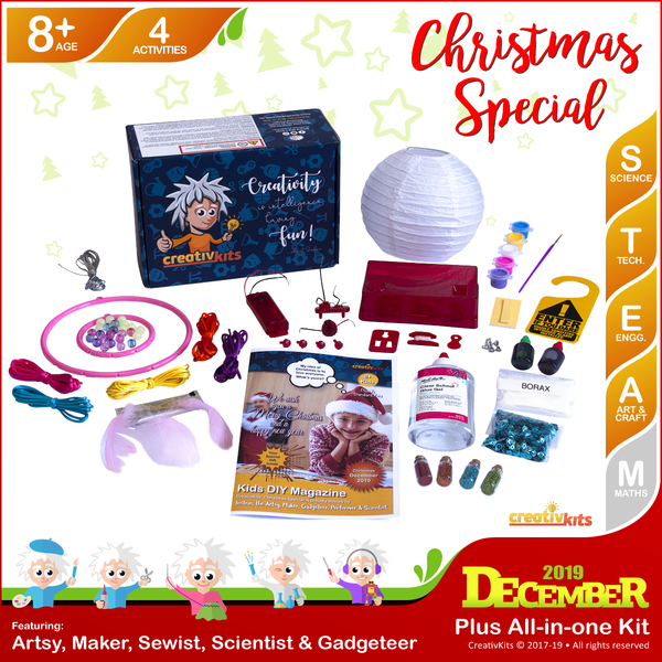 December Plus Kit • Age 8 plus • BYO Intruder Alarm, Christmas Glitter Slime, GID Dreamcatcher and Painted Xmas Lantern