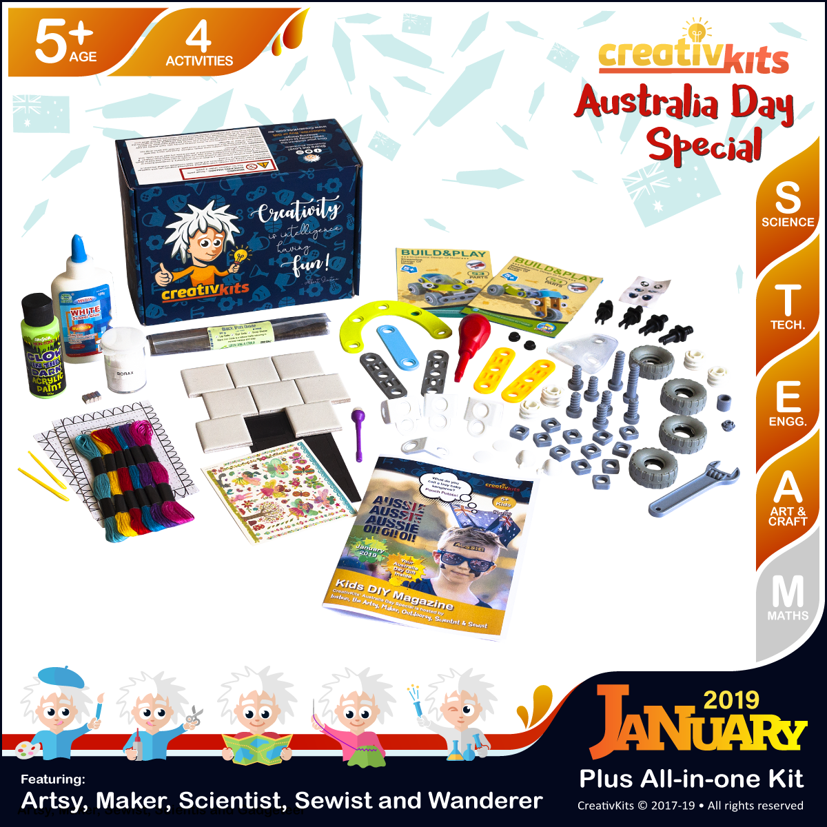 January Plus Kit • Age 5 plus • Fridge Magnets, Carpet Stitching, GID Magnetic Slime & Buggy & Trike