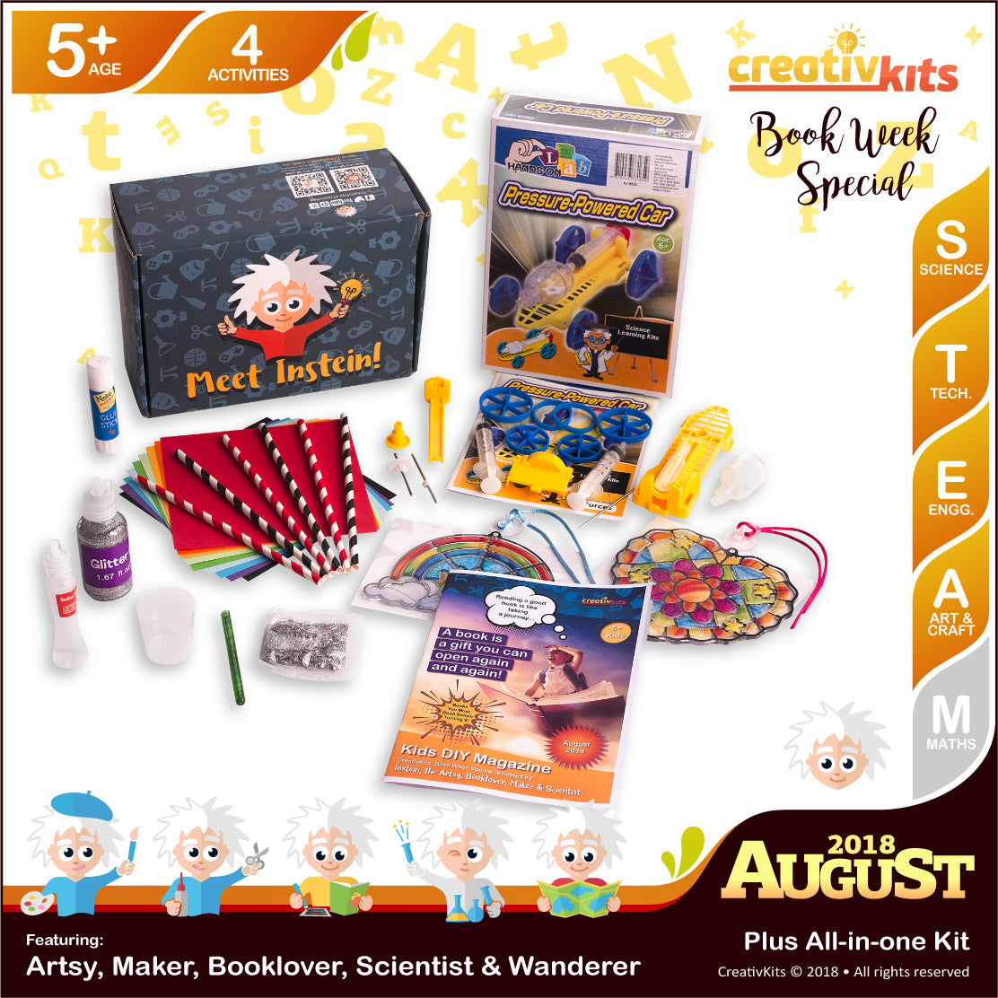 Holographic Slime, Air Powered Car, Tulip Craft and Glass Sun-catchers | August Plus Kit | Age 5+