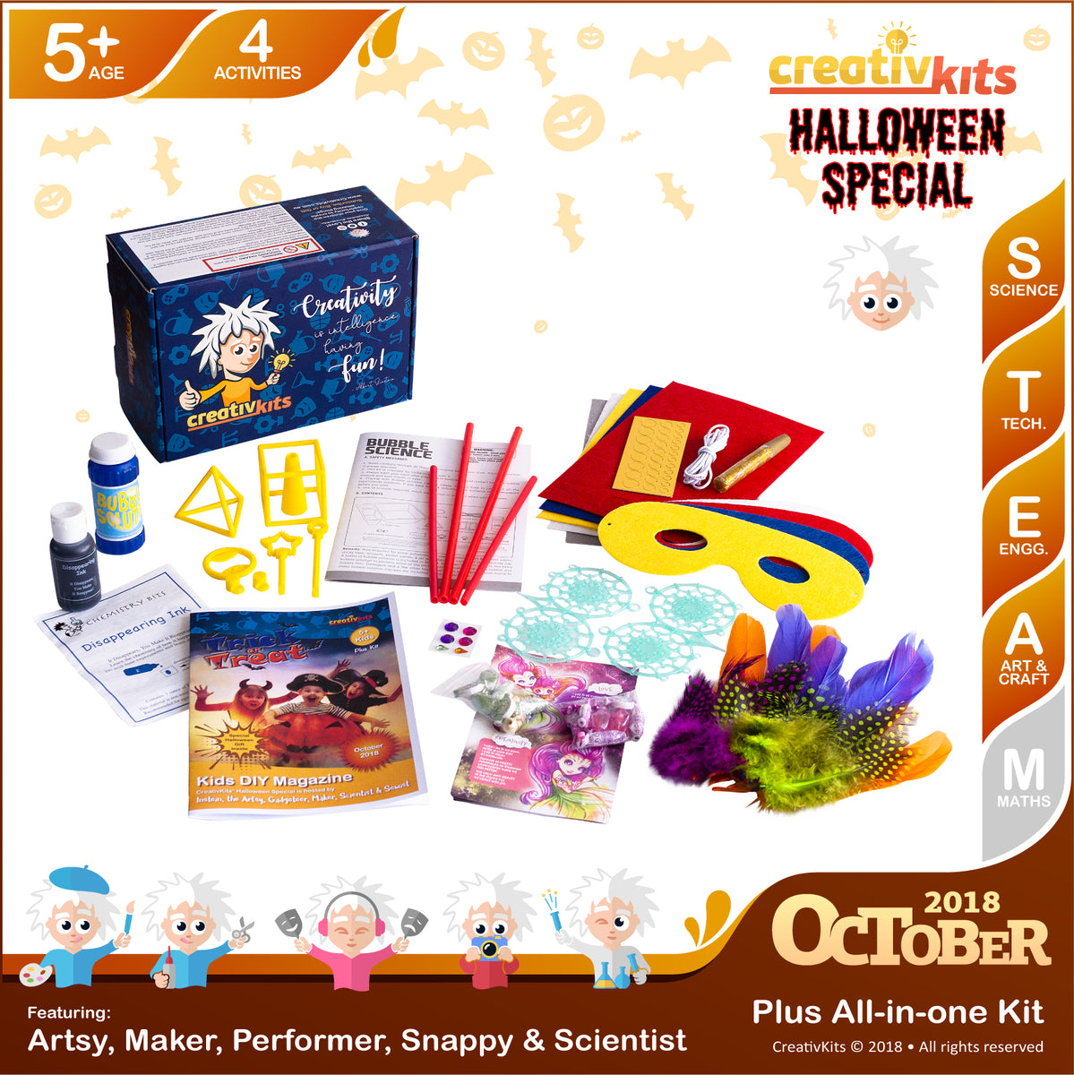 Bubble Science, Super Hero Masks, Dreamcatchers and Disappearing Ink | October Plus Kit | Age 5+