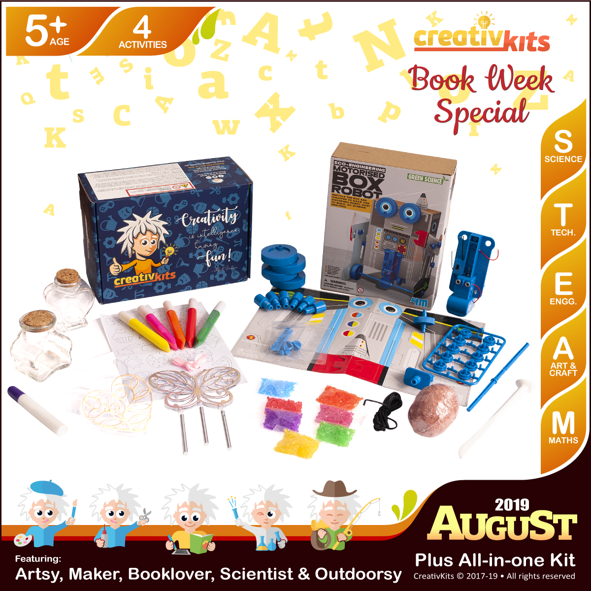 August Plus Kit • Age 5 plus • Box Robot, MYO Wind Chime & Trinket Box, Shark Tooth fossil and Sand Art Bottle Replicas