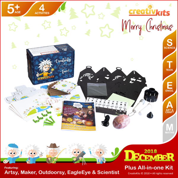 December Plus Kit • Age 5 plus • Flower Art, Christmas Lantern, Super Moon Torch and Shark Tooth