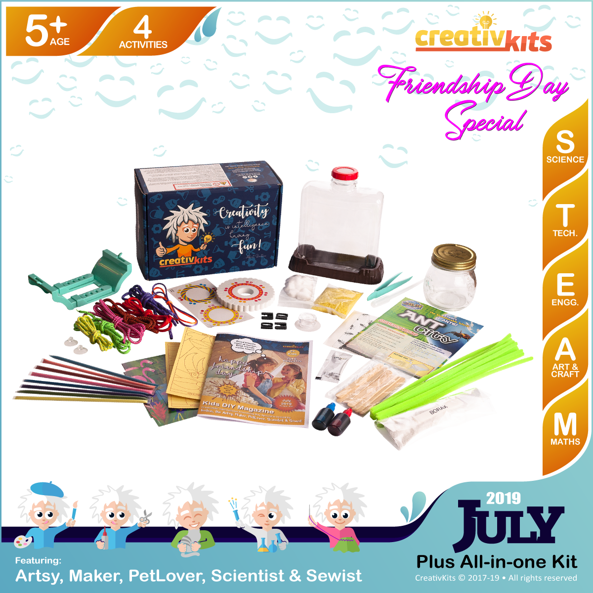 July Plus Kit • Age 5 plus • Build Ant City, MYO Friendship Bands, Crystal Snowflakes and Sand Art