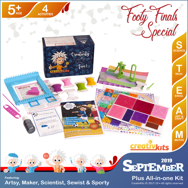 September Plus Kit • Age 5 plus • Recycled Paper Beads, Disappearing Spy Ink, DIY Artistic Mosaic Window & Weaving On Loom
