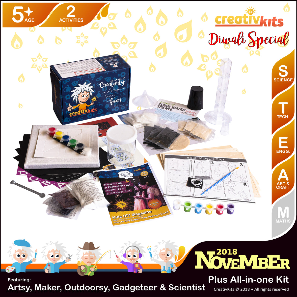 November Plus Kit • Age 5 plus • Canvas Pop Art, Water Filtration, Crystal Growing and 3D Bird House