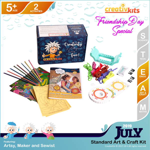 July Standard Art & Craft Kit • Age 5 plus • MYO Friendship Bracelets and Glitter Sand Art