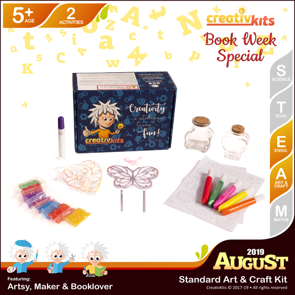 August Standard Art & Craft Kit • Age 5 plus • MYO Wind Chime & Trinket Box and Sand Art Bottle Replicas