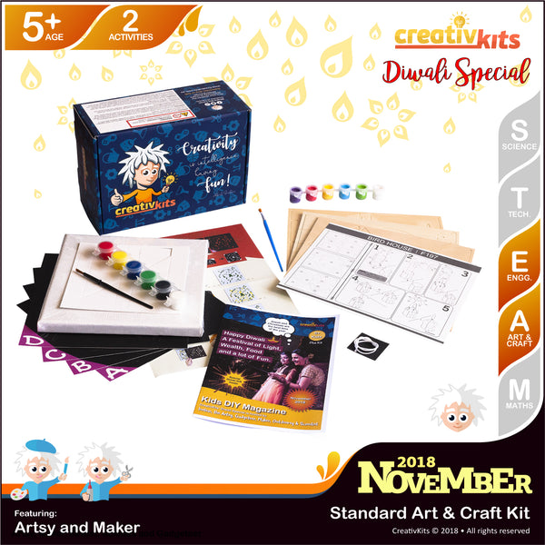November Standard Art & Craft Kit • Age 5 plus • DIY Lion Canvas Pop Art and 3D Wooden Bird House