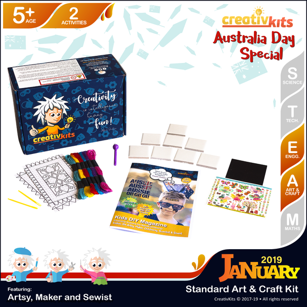 January Standard Art & Craft Kit • Age 5 plus • Magic Transfer Fridge Magnets & Stitch Magic Carpet