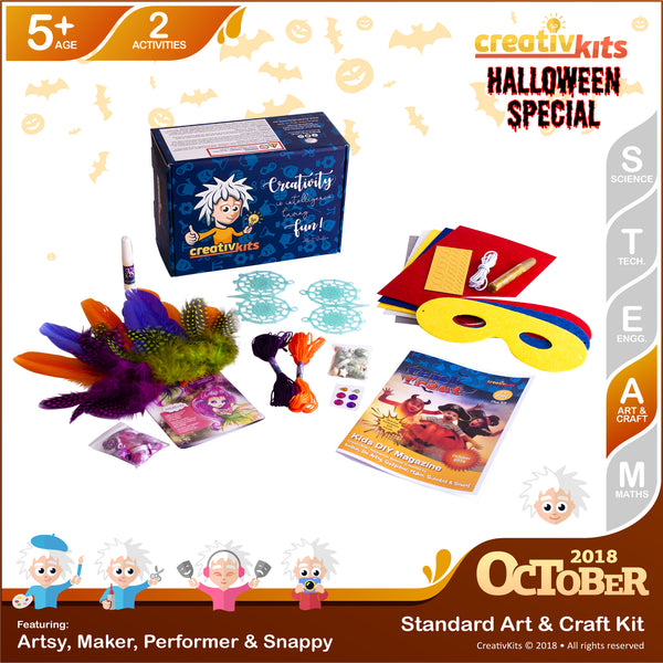 Halloween Super Hero Masks & Glow-in-Dark Dreamcatchers | October Standard Art & Craft Kit | Age 5+