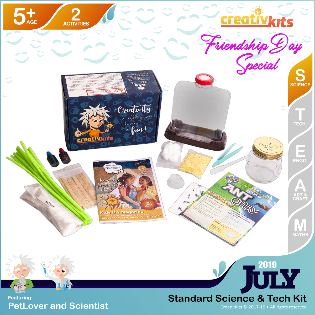 July Standard Science & Tech. Kit • Age 5 plus • Create Ant City and Make your Crystal Snowflakes