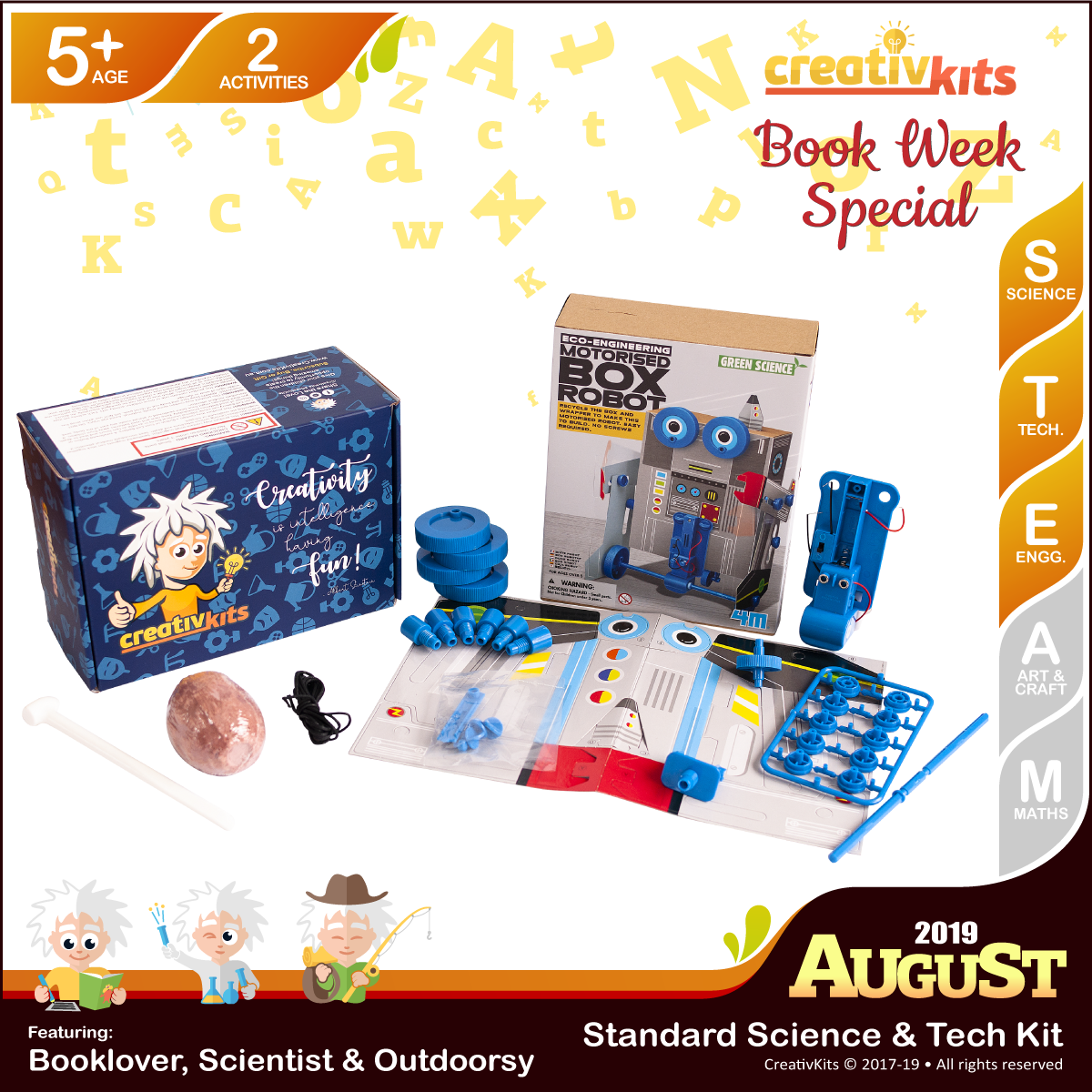 August Standard Science & Tech. Kit • Age 5 plus • BYO Box Robot and Shark Tooth Fossil