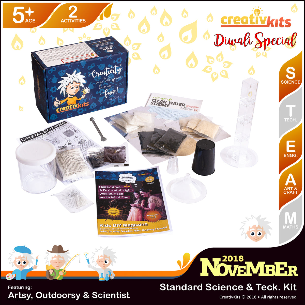 November Standard Science & Tech. Kit • Age 5 plus • DIY Water Filtration & Coloured Crystal Growing