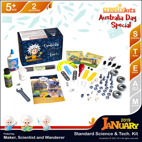 January Standard Science & Tech. Kit • Age 5 plus • Glow in Dark Magnetic Slime and Build a Trike