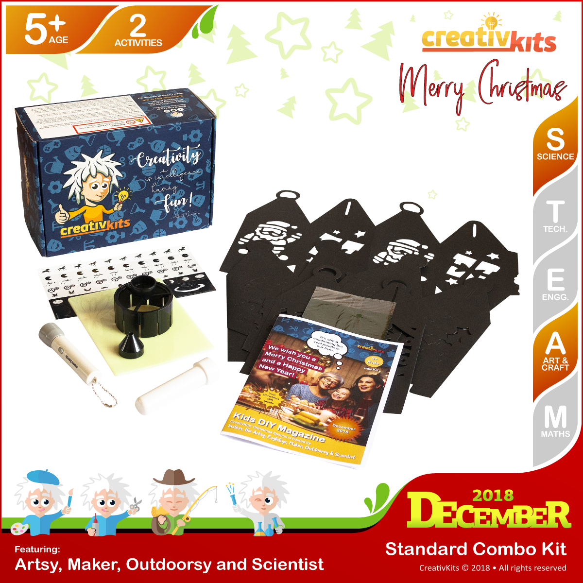 December Standard Combo Kit • Age 5 plus • Making Christmas Lantern and Learn with Super Moon Torch