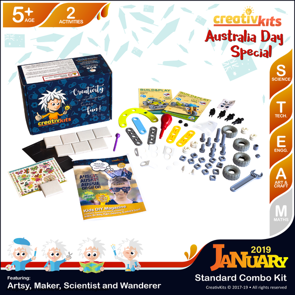 January Standard Combo Kit • Age 5 plus • Magic Transfer Fridge Magnets and Building Buggy & Trike