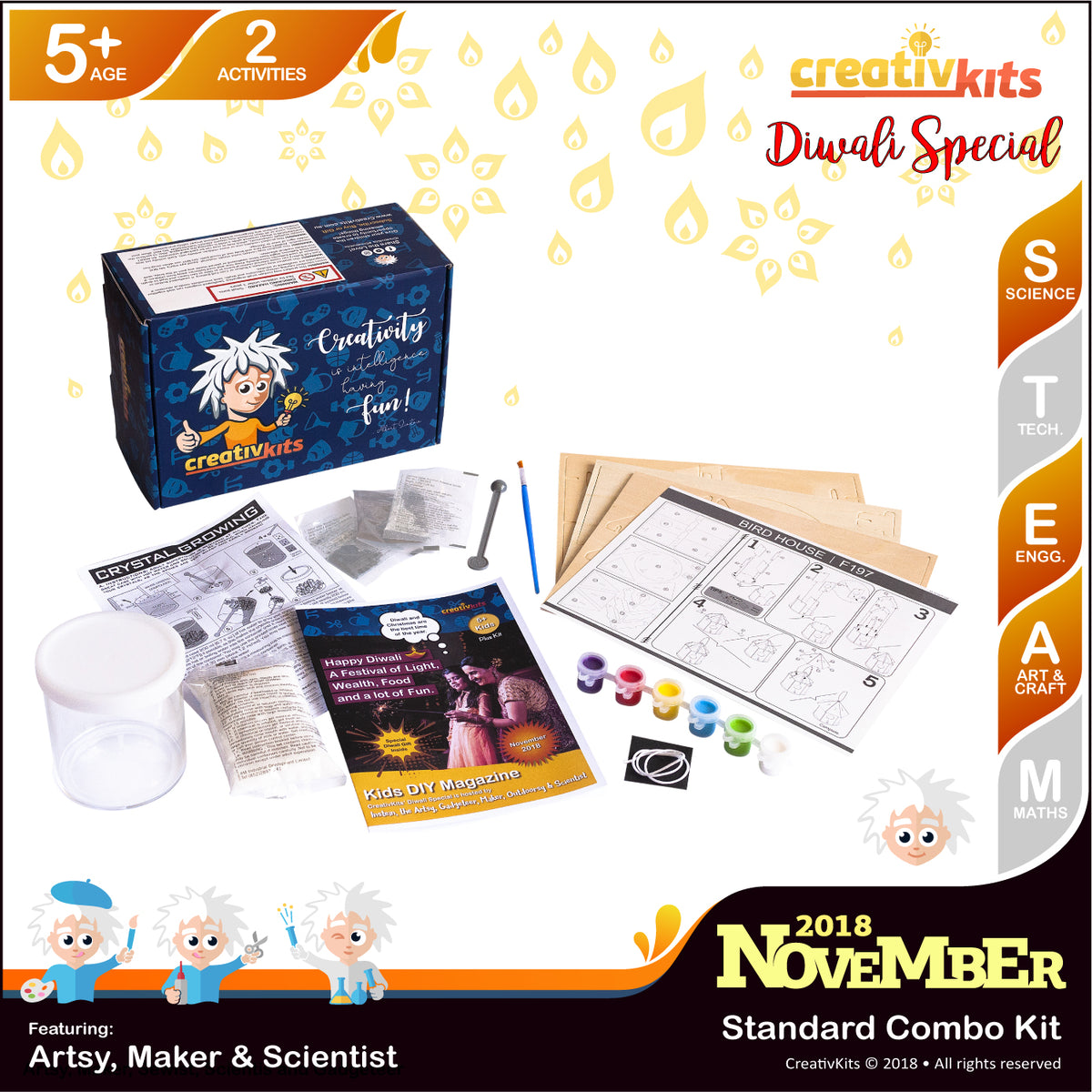 November Standard Combination Kit • Age 5 plus • DIY Coloured Crystal Growing & 3D Birdhouse Puzzle