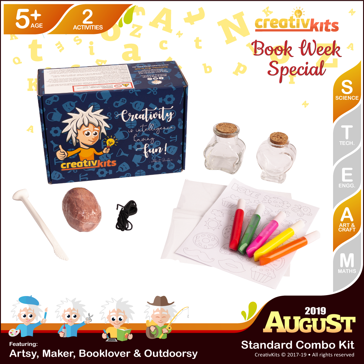 August Standard Combo Kit • Age 5 plus • Shark Tooth Fossil and Sand Art Bottle Replicas