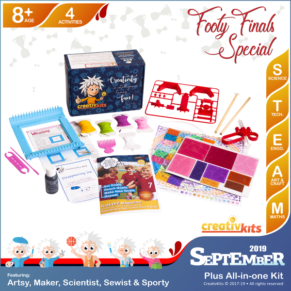 September Plus Kit • Age 8 plus • BYO Hydraulic Arm, Disappearing Spy Ink, DIY Artistic Window Mosaic & Weaving Loom