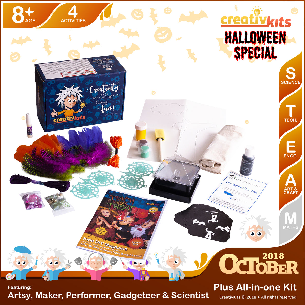Hologram Projector, Trick/Treat Bags, Dreamcatchers and Disappearing Ink | October Plus Kit | Age 8+