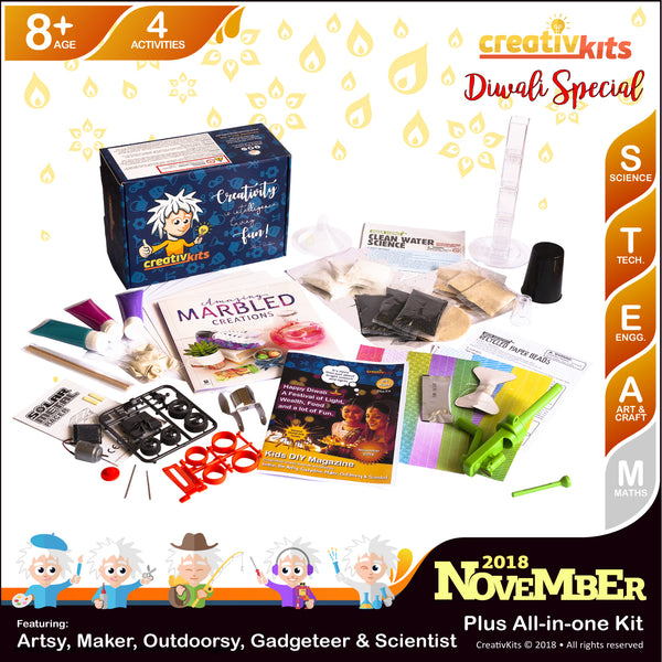 November Plus Kit • Age 8 plus • Paper Beads, Water Filtration, Marbled Creations & Solar Racing Car
