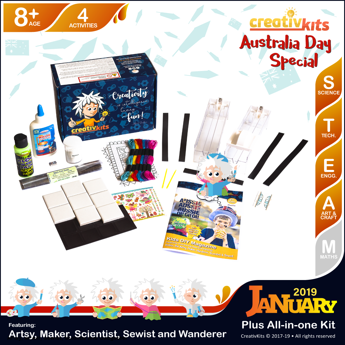 January Plus Kit • Age 8 plus • Fridge Magnets, Carpet Stitching, GID Magnetic Slime & Maglev Train