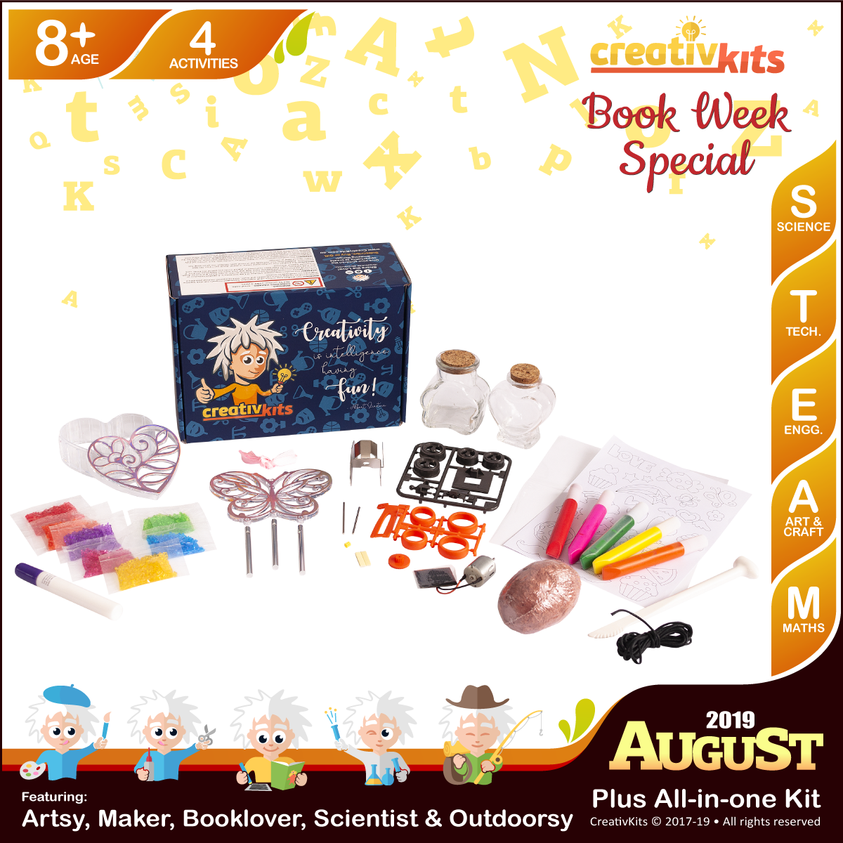 August Plus Kit • Age 8 plus • Solar Metal Racer, MYO Wind Chime & Trinket Box, Shark Tooth fossil and Sand Art Bottle Replicas