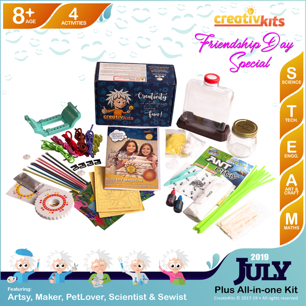 July Plus Kit • Age 8 plus • Ant City, MYO Friendship Bracelets, Crystal Snowflakes and Sand Art