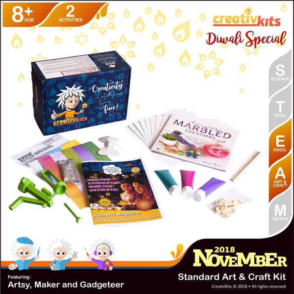November Standard Art & Craft Kit • Age 8 plus • Recycled Paper Beads and Assorted Marbled Creations