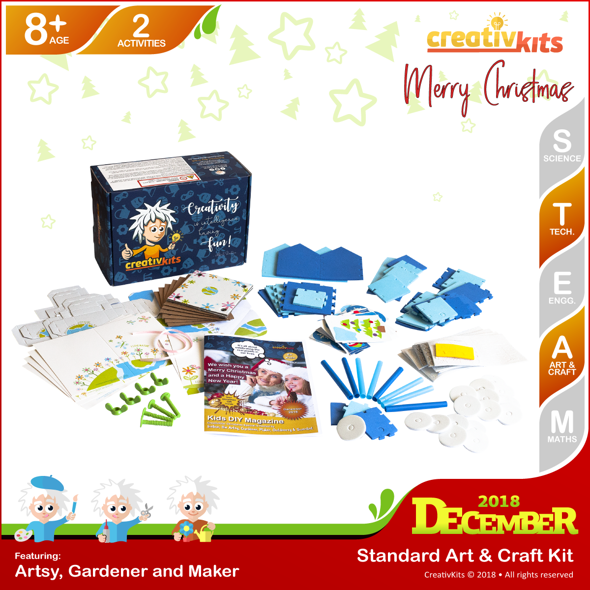December Standard Art & Craft Kit • Age 8 plus • Creating Flower Art and Making Arctic Express Train