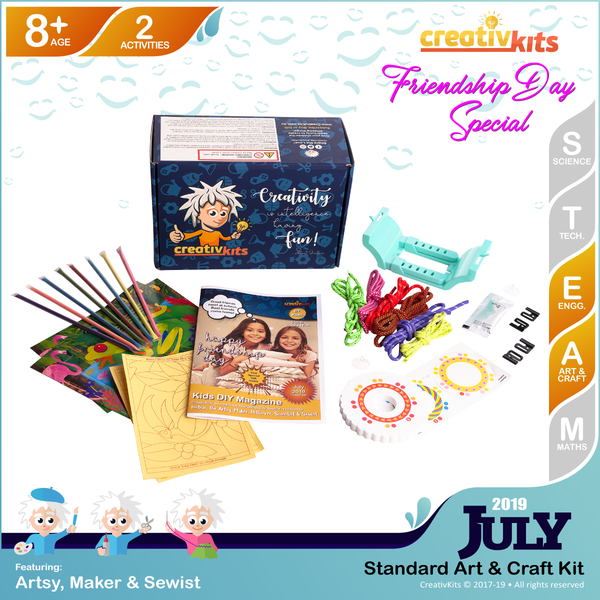July Standard Art & Craft Kit • Age 8 plus • MYO Friendship Bracelets and Glitter Sand Art