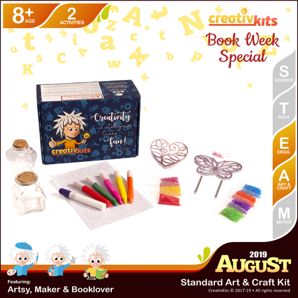 August Standard Art & Craft Kit • Age 8 plus • MYO Wind Chime & Trinket Box and Sand Art Bottle Replicas
