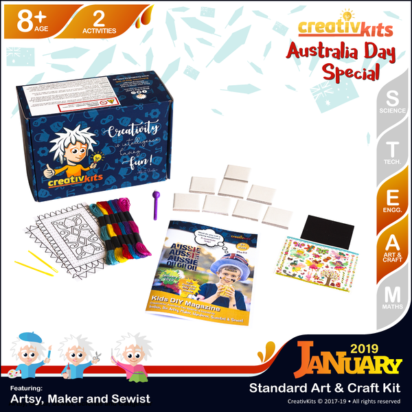 January Standard Art & Craft Kit • Age 8 plus • Magic Transfer Fridge Magnets & Stitch Magic Carpet